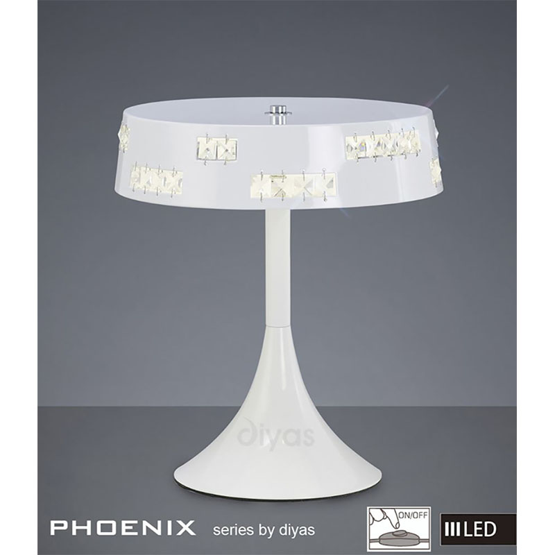 Modern Style Table Lamp Led White/Crystal Unique Elegant Design
