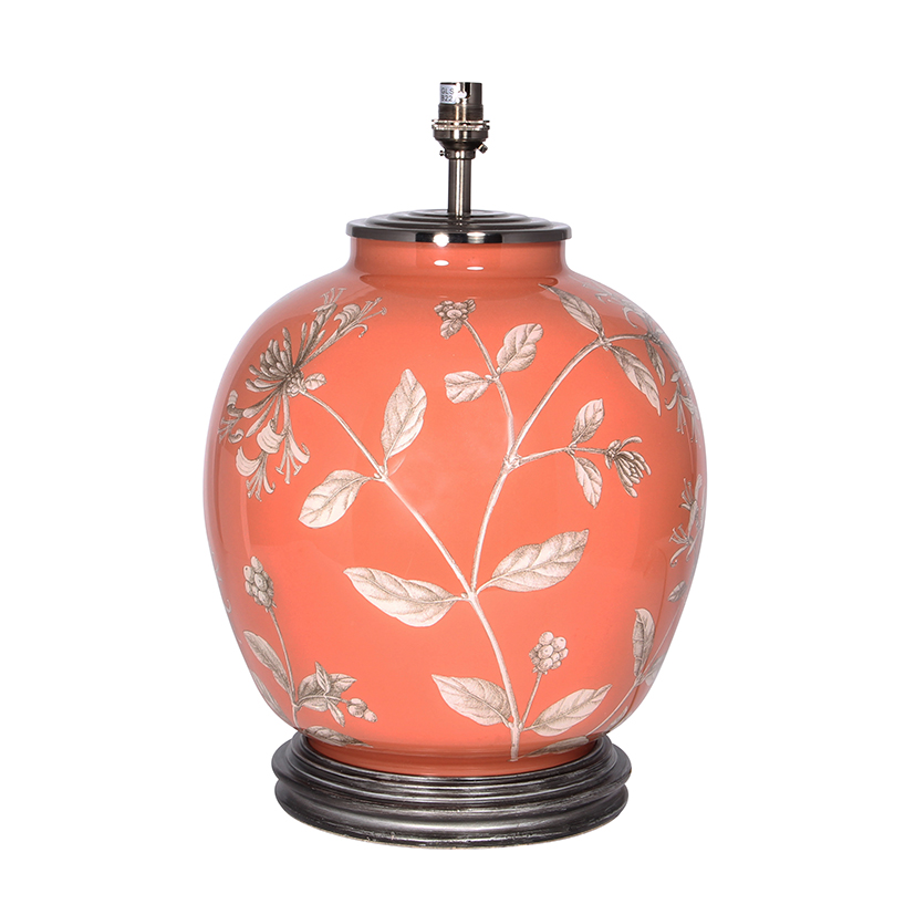 Honeysuckle Large Round Base Only Decorated Glass Lamp