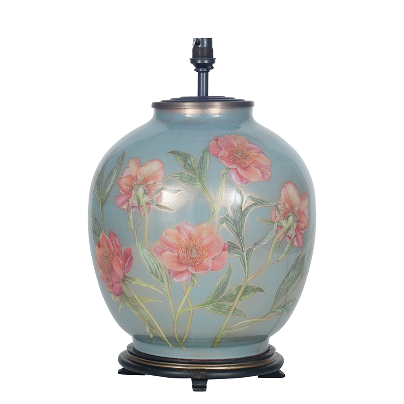 Coral Peony Large Round Base Only Decorated Glass Lamp