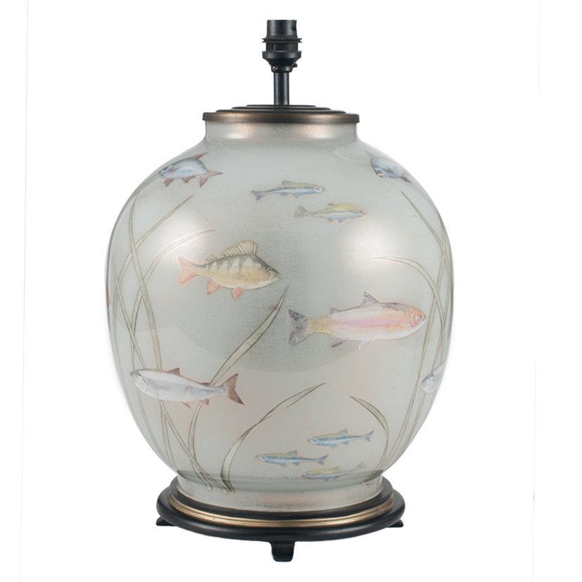 Large Round Glass Light Blue Table Lamp Decorated Finish