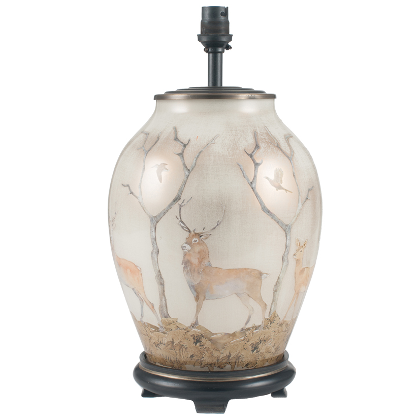 Medium Oval Glass Soft White Table Lamp With Gold Deer Print