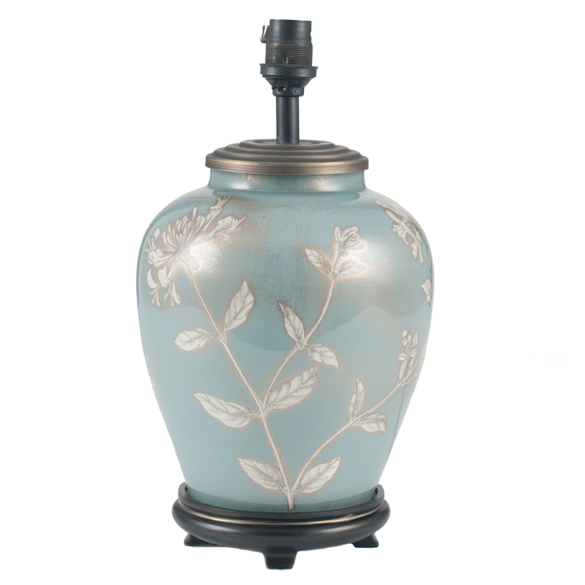 Small Oval Soft Blue Glass Table Lamp