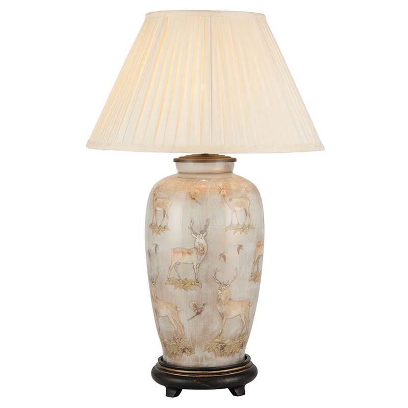 Deer Design Urn Shape Table Lamp