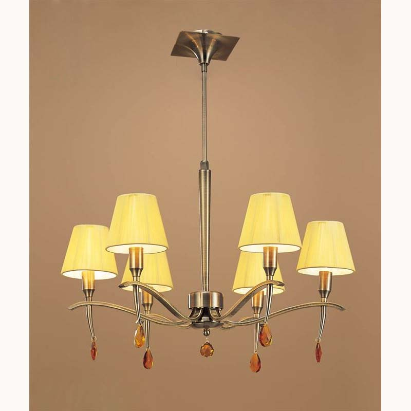 Pendant 6 Light Antique Brass With Amber Silk String Shade
