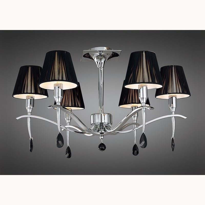 Polished Chrome 6 Light Ceiling Chandelier With Black Silk Shade