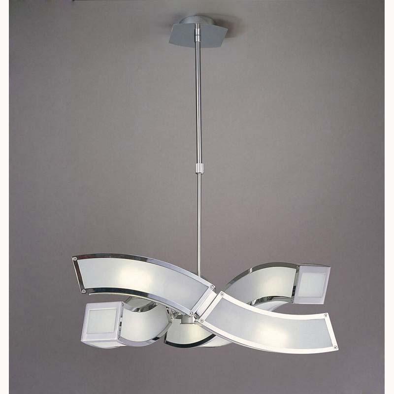 Mantra M0389 Duna E27 Pendant 3 Arm 6 Light E27, Polished Chrome/White Acrylic
