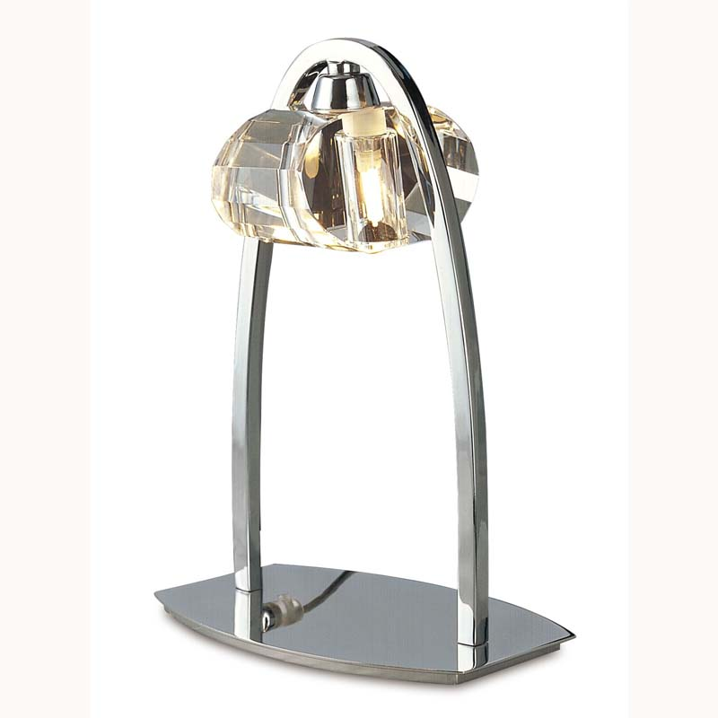Table Lamp 1 Light Polished Chrome - Crystal Shade/Contemporary Style