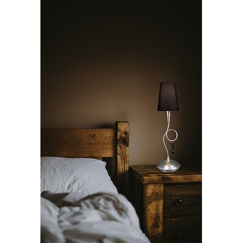 Modern Style Silver Table Lamp With Black Shade & Glass Droplet Detail