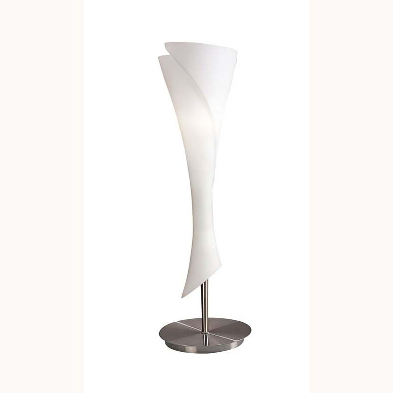Stunning Satin Nickel 1 Light Table Lamp & White Opal Glass Shade