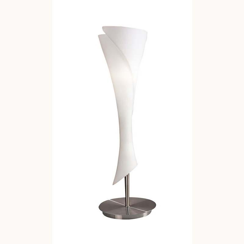 Stunning Satin Nickel 1 Light Table Lamp & White Opal Glass Shade