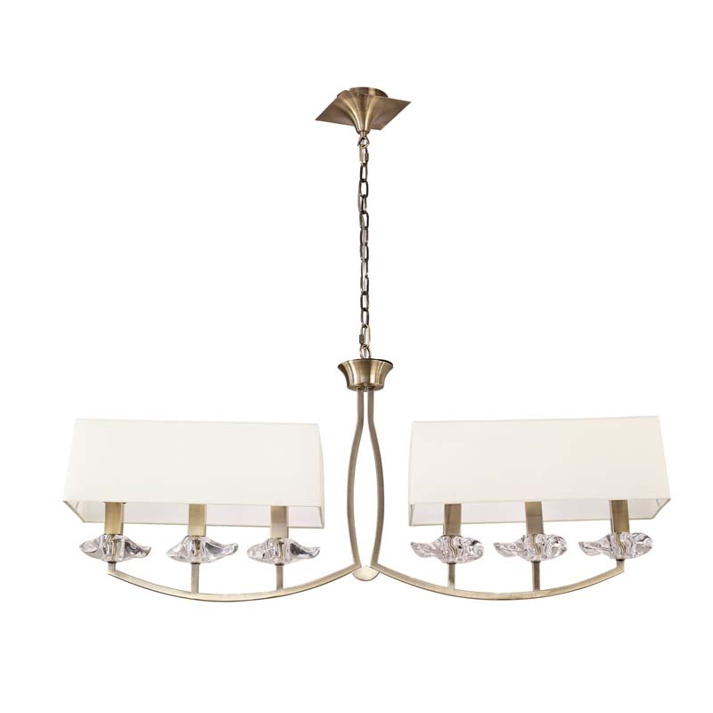 Akira Pendant 6 Light Antique Brass With Cream Shade