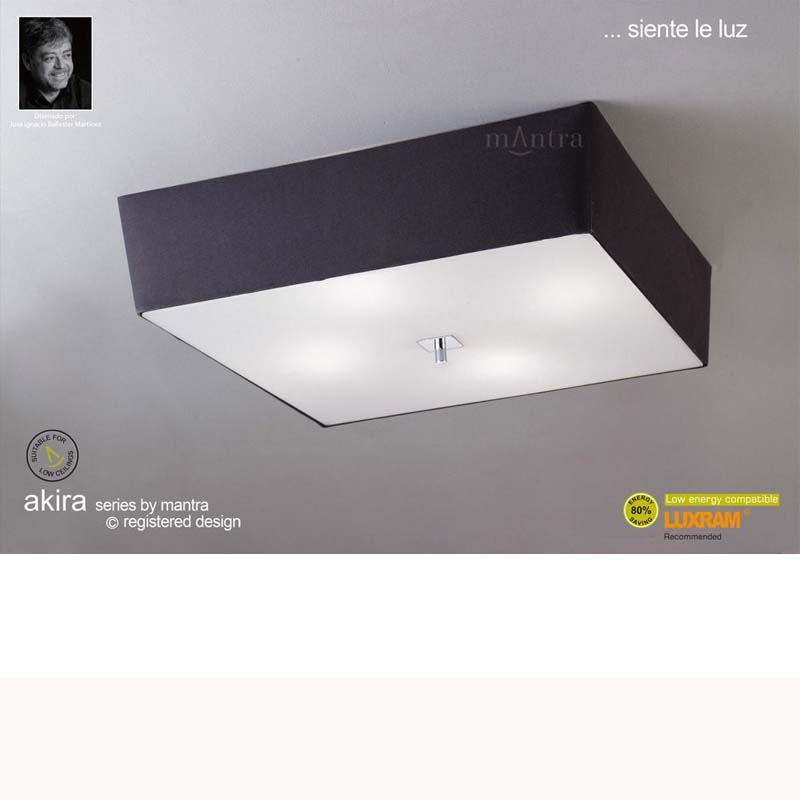 Akira Ceiling 4 Light Polished Chrome With Black Shade