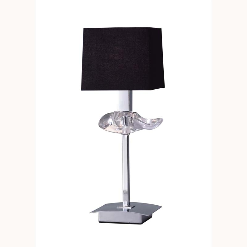 Polished Chrome 1 Light Table Lamp With Black Shade & Clear Glass Detail
