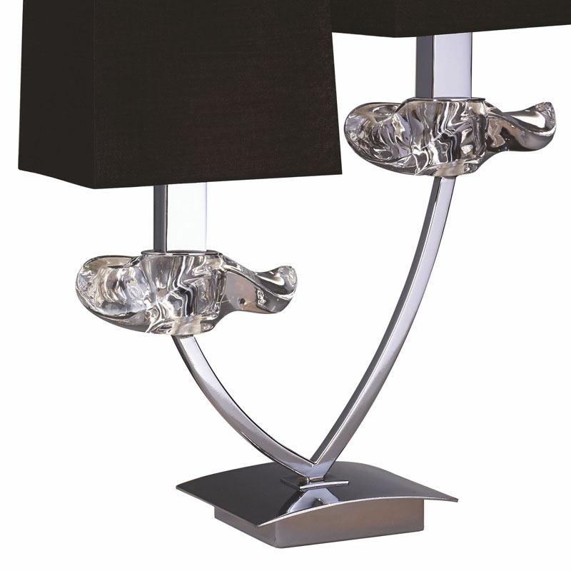 Polished Chrome 2 Light Table Lamp With Black Shade & Clear Glass Detail