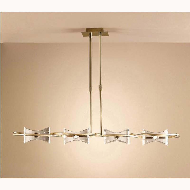 Kromo Pendant Line 4 Light Antique Brass