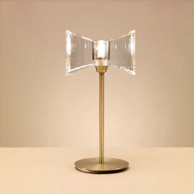 Kromo 1 Light Antique Brass Table Lamp & Sraight Frame Shade