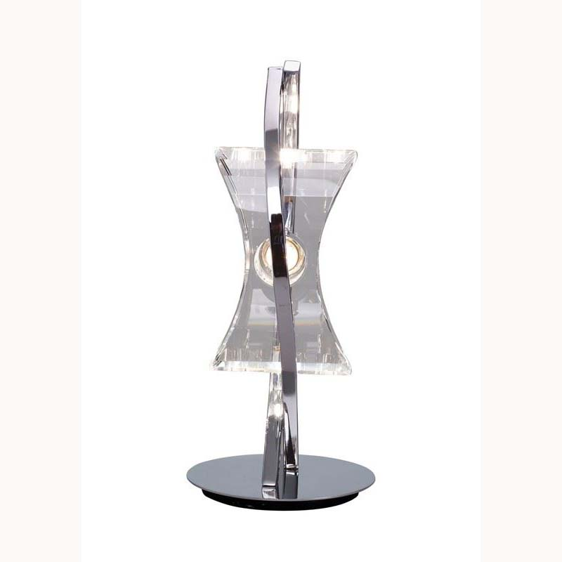 1 Light Table Lamp Polished Chrome Finish Feminine Crystal Design