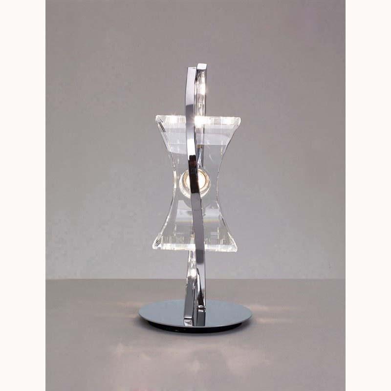 1 Light Table Lamp Polished Chrome Finish Feminine Crystal Design