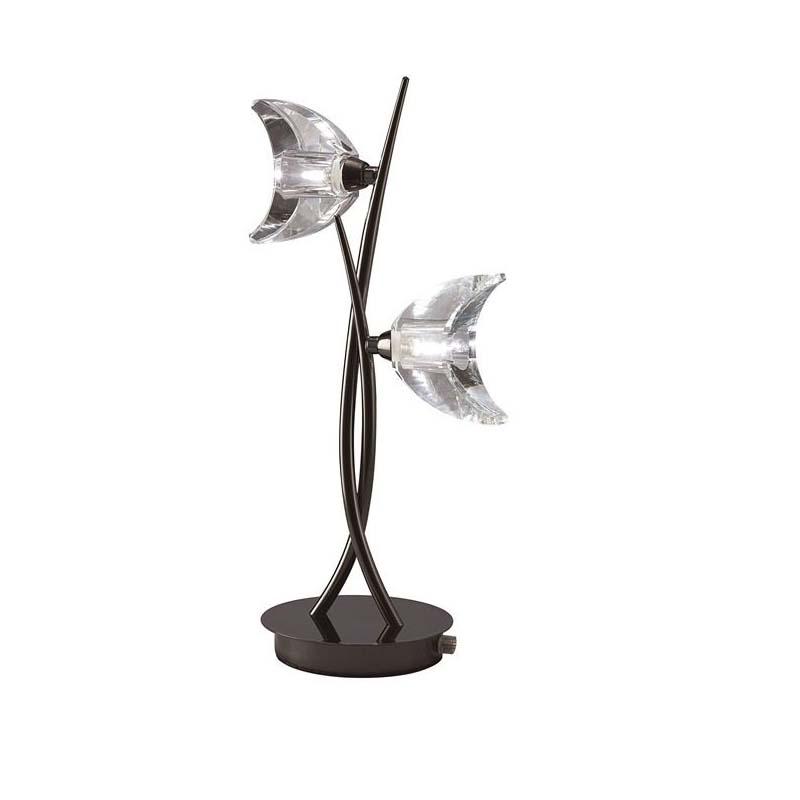Table Lamp 2 Light Black Chrome - Bedroom/Living Room Decor