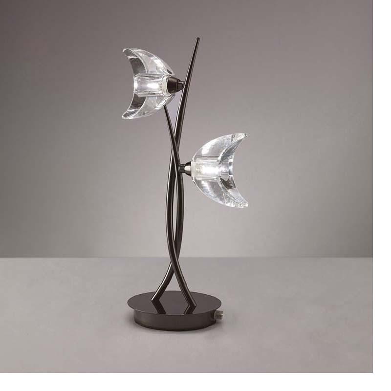 Table Lamp 2 Light Black Chrome Finish - Bedroom/Living Room Decor