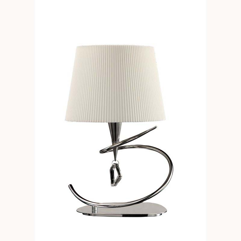 Modern Style Polished Chrome 1 Light Table Lamp With Cream Shade