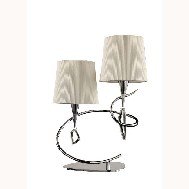 Mara Stunning Designer Table Lamp 2 Light Polished Chrome/Cream