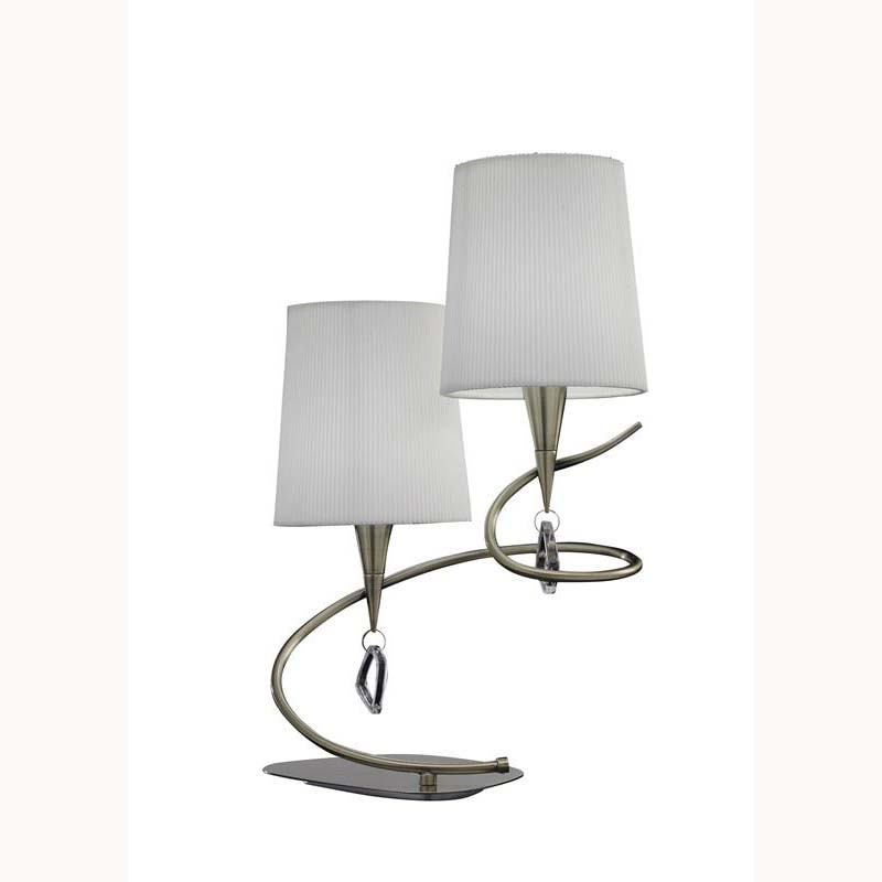 Modern Style Antique Brass 2 Light Table Lamp With Cream Shade