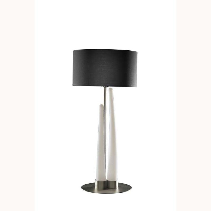 Table Lamp 3 Light With Shade Silver/Opal White/Black Indoor/Outdoor