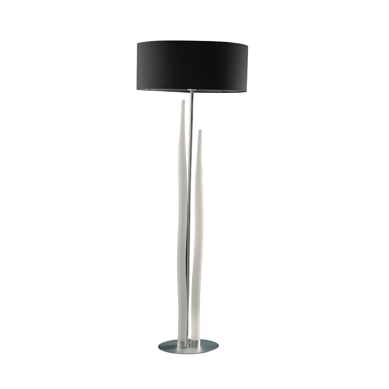 Escalate Floor Lamp 3 Light With Shade Silver/Opal White/Black Indoor