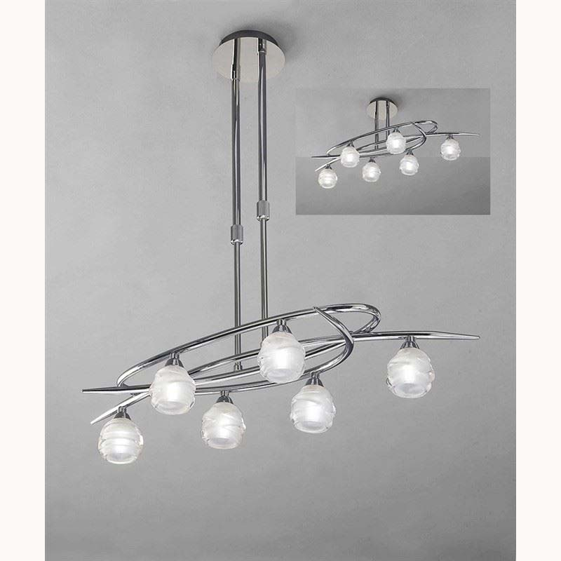 Loop Pendant 6 Light Polished Chrome (Semi Flush Convertible)