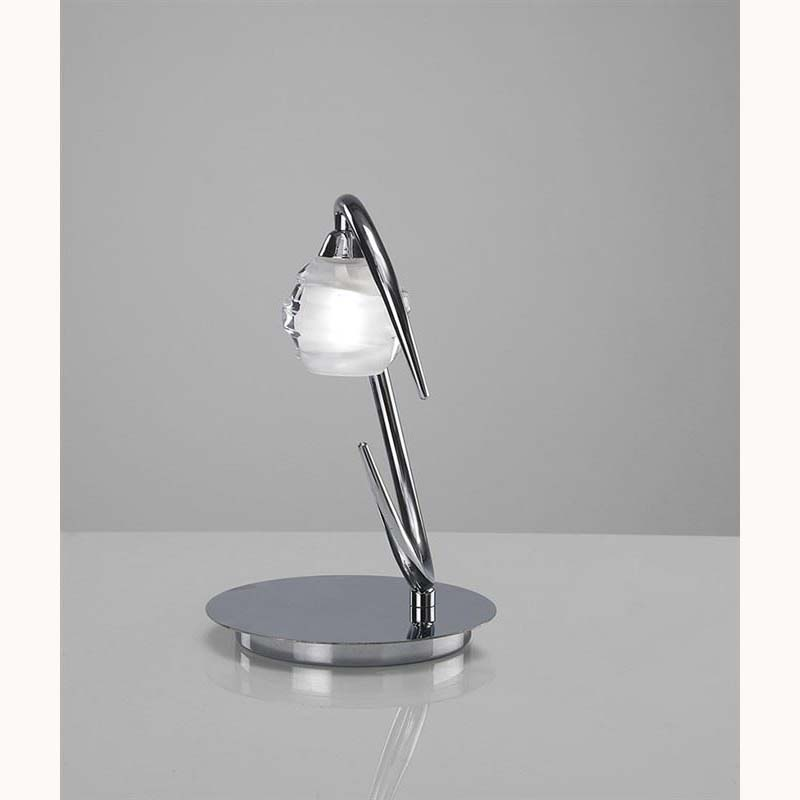 Polished Chrome Table Lamp With Decorated Glass Sphere