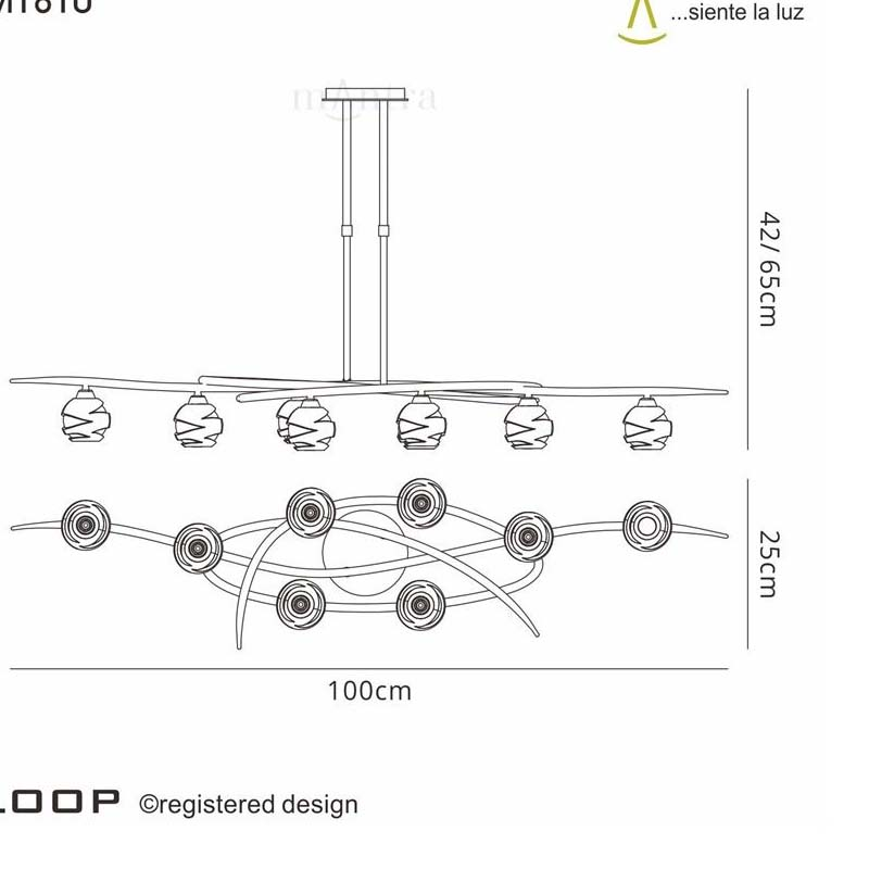 Loop Pendant 8 Light Satin Nickel
