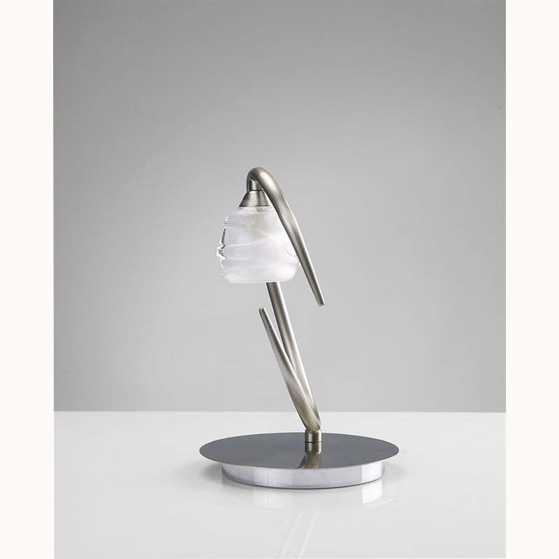 Satin Nickel 1 Light Table Lamp With Glass Shade