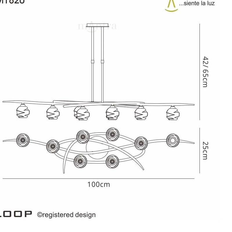 Loop Pendant 8 Light Antique Brass