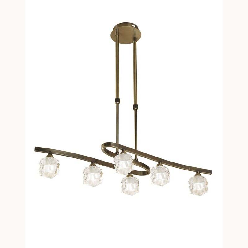Ice Pendant 6 Light Antique Brass