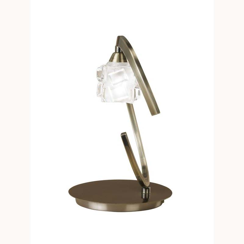 Stylish Antique Brass Table Lamp And Glass Shade