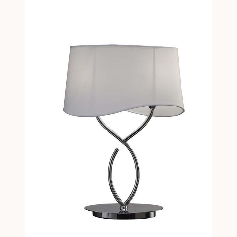 Modern Polished Chrome 2 Light Table Lamp & White Shade