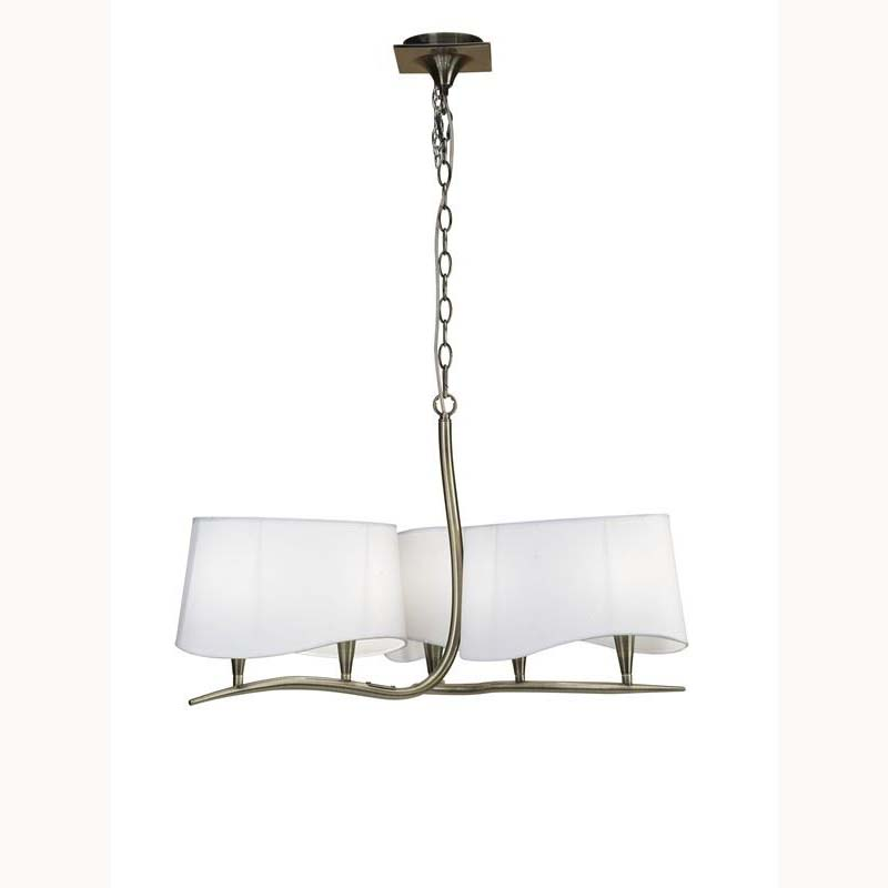 Nanette Pendant 6 Light Antique Brass/White