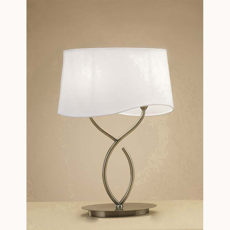 Stylish 2 Light Antique Brass Large Table Lamp And White Shade