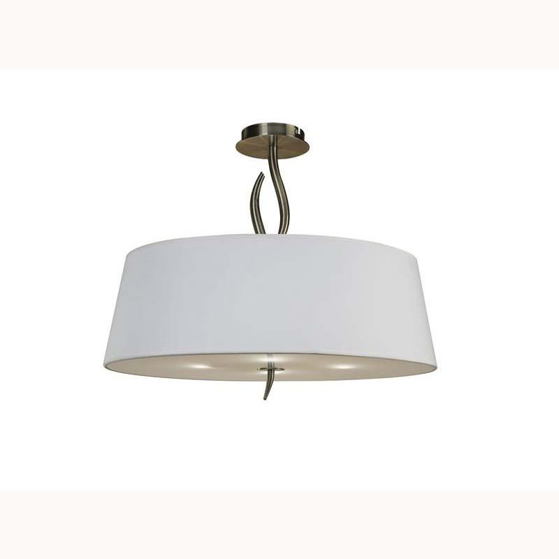 Nanette semi ceiling 4 light antique brass/white