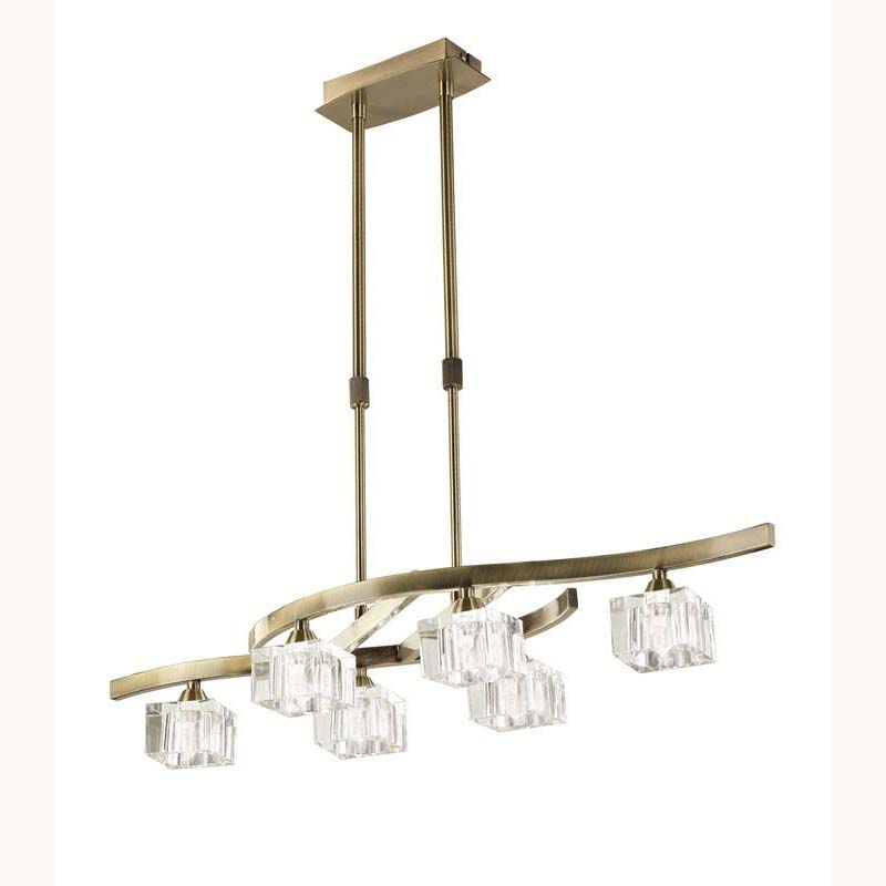 Pendant 6 Light Antique Brass. Convertible To Semi Flush