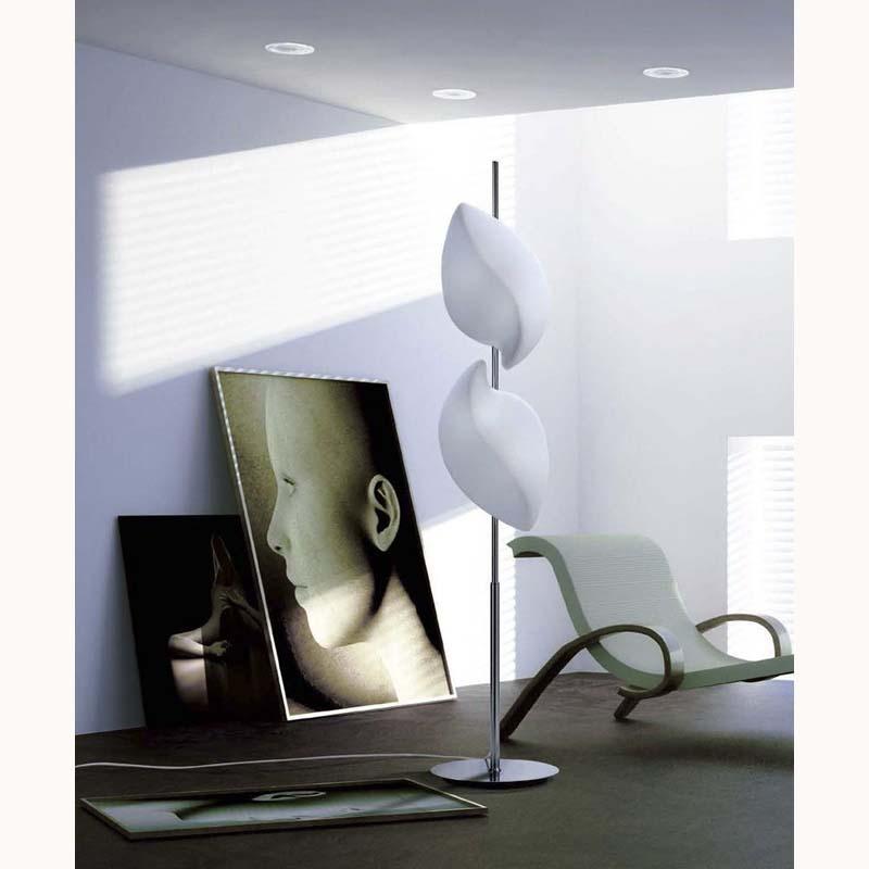 Mantra M3588 Natura Floor Lamp 4 Light E27 Indoor, Polished Chrome/Opal White