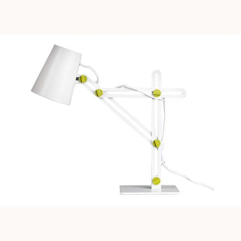 Stylish Portable 1 Light White Table Lamp & Green