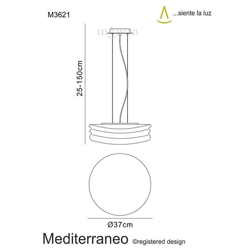 Mediterranean Pendant 2 Light Medium Chrome/Opal