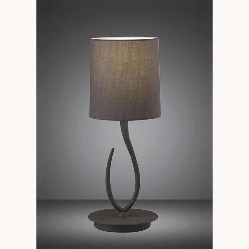 Lua Small Ash Grey 1 Light Table Lamp With Ash Grey Shade