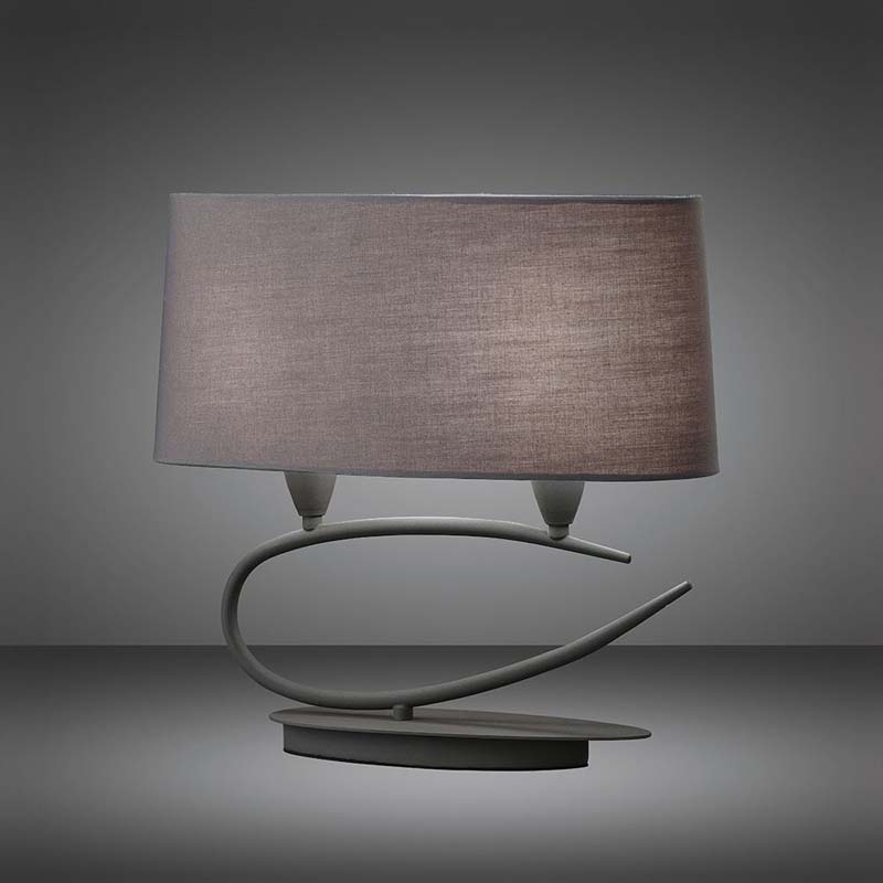 Lua Table Lamp 2 Light E27, Ash Grey With Ash Grey Shades