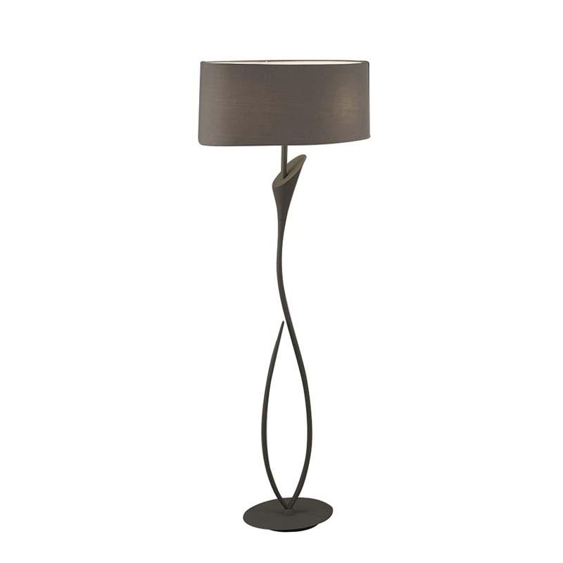 Mantra M3689 Lua Floor Lamp 2 Light E27, Ash Grey With Ash Grey Shade