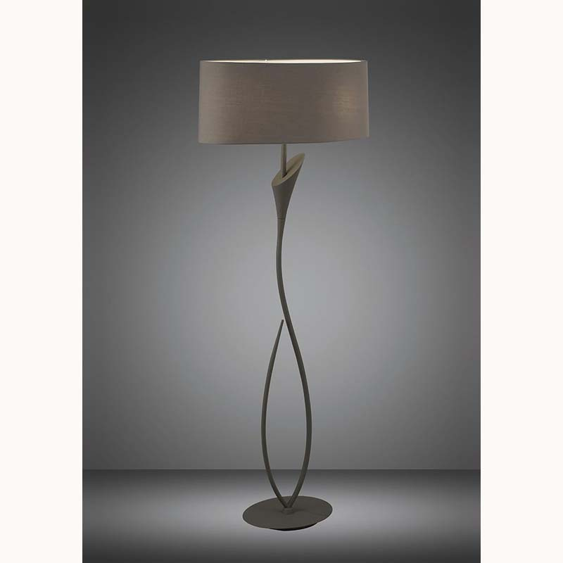 Mantra M3689 Lua Floor Lamp 2 Light E27, Ash Grey With Ash Grey Shade