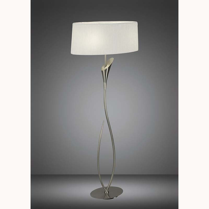 Mantra M3709 Lua Floor Lamp 2 Light E27, Satin Nickel With White Shade