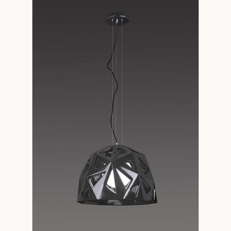 Mantra M3732 Facette Pendant 1 Light E27, Gloss Black/Polished Chrome